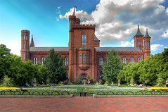 The Castle - Smithsonian Institution, National Mall, Washington DC (kuyabic) Tags: blue trees red sky white flower brick green castle museum architecture clouds garden landscape smithsonian iso200 dc washington high nikon dynamic 15 institute research nationalmall handheld 1200 cropped educational 24mm 1855 range dri increase hdr sensor hdri institution d40 leanbgone