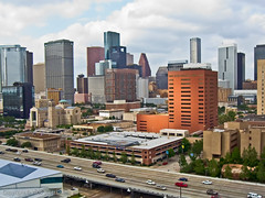 Downtown Houston (the St. Joseph view) (scottdunn) Tags: kite skyscraper photography aerial kap aerialphotography kiteaerialphotography scottdunn fotografiaaéreacompipa photoparcerfvolant houstonwwkw2009 fesseldrachenluftbildfotografie