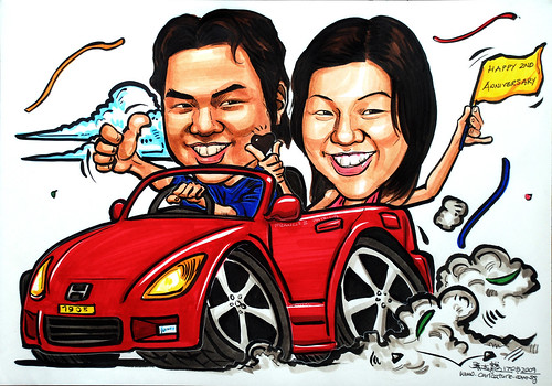 Couple caricatures on sports car second anniversary