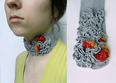 grey choker (ulaniulani) Tags: grey necklace crochet etsy beaded choker freeform hyperbolicshape