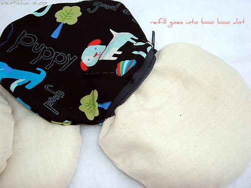 Doggie On My Boo Boo Dot Round Pouch Now With Washable Covers
