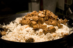 add pork to rice mixture