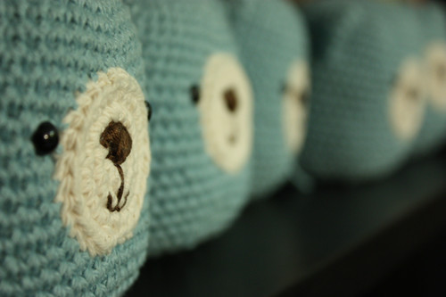 5 momo bears sitting in a row