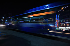 A Korean Ghost Bus (Yann LECOEUR Photography) Tags: street longexposure blue orange bus cars night dark lights lowlight nightshot traffic pavement seoul transparent southkorea neons canonef1635mmf28liiusm canoneos5dmarkii yalestudio lowerinsadong