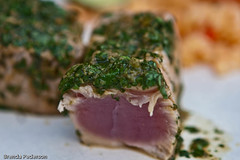 Perfect Tuna (Culinary Fool) Tags: fish green herbs hawaiian tuna ahi dinnerclub cookingclub culinaryfool 44thdinner