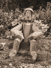 Vintage Wooden Figure (PureWarriorMaiden - More off than at the mo : )) Tags: plant man sepia vintage garden wooden pot ornament figure