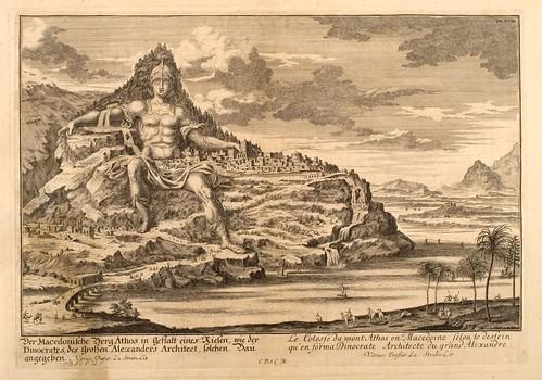 009- El Coloso del Monte Athos-Entwurf einer historischen Architektur 1721- © Universitätsbibliothek Heidelberg