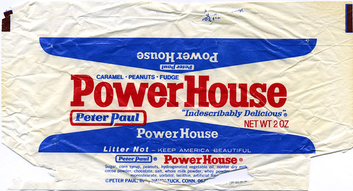 Peter Paul Power House candy bar wrapper - 1970's | A very c