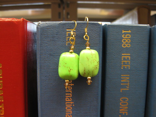 green earrings i made