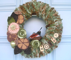 Howdy Yarn Wreath (KnockKnocking) Tags: sculpture brown green bird art home rose fun texas nest unique felt yarn southern wreath ornament organic welcome fiber quail howdy