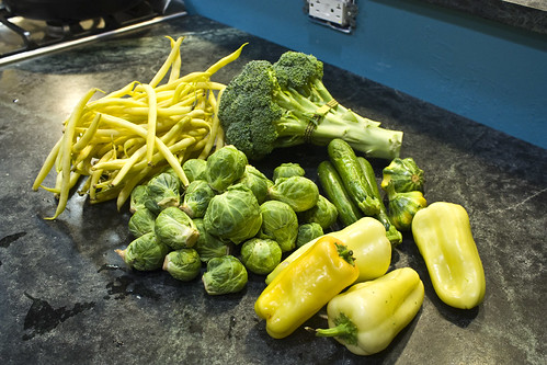 Peppers Brussels Broccoli and beans