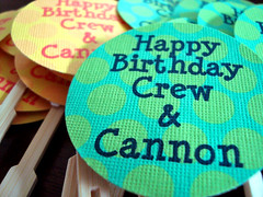 crew & cannon's bday - cuppie toppers