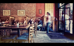 Lunch Crowd (isayx3) Tags: people motion blur walking lens lunch cafe nikon eating shift explore 365 24mm resturant nikkor tilt frontpage f28 plainjoe isayx3
