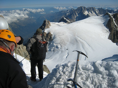 Top of the ice climb down mont Maudit