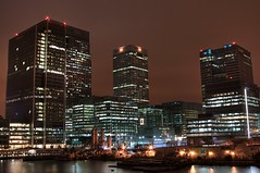 Canary Wharf 2 (_skynet) Tags: longexposure light london thames night buildings river dark lights office long exposure britain weekend capital business commercial wharf canary canarywharf financial zone offices commercials