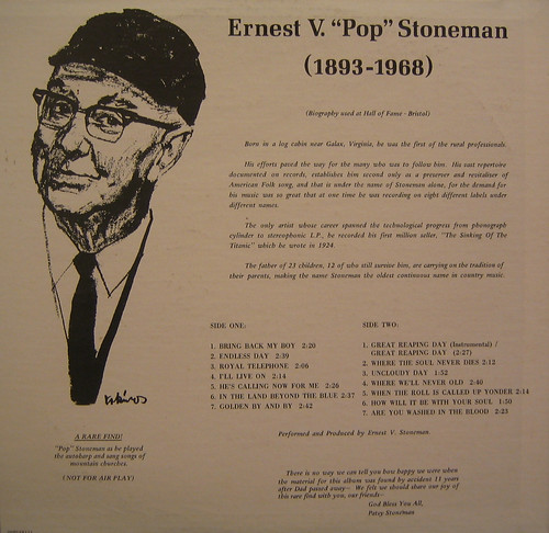 Ernest V. Stoneman Back of LP by you.