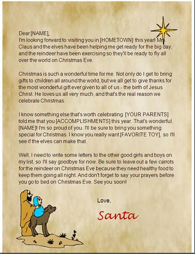 christian santa letter