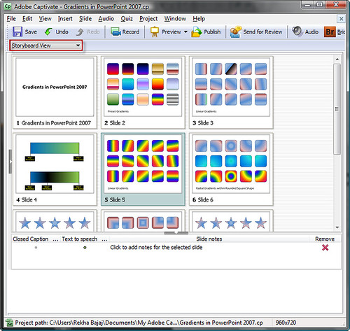 Adobe Captivate's Storyboard View
