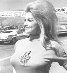 Linda Vaughn wearing her Hurst Armed Forces Club top (torinodave72) Tags: girl june golden nikki phillips f1 linda nascar firebird marsha miss vaughn pure bennett cochran shifter hurst nhra usac ahra