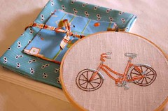 "* Kerri's Hoop for Me *  ""Hand Stitched"" Embroidery SWAP (.House. of A La Mode) Tags: blue urban beach me tangerine hoop for ross aqua market embroidery heather seeds swap fancy schmidt flea recess cruiser handstitched kerris munki denyse"