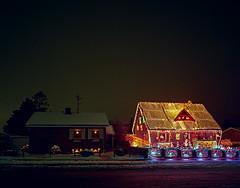 Neighbors, Roskilde, Denmark (YYL Photography) Tags: santa christmas street xmas blue schnee houses winter decorations light red house holiday snow color colour building 6x6 film luz yellow natal night contrast zeiss photoshop buildings dark weihnachten season reindeer denmark lights navidad licht colorful long exposure fuji darkness shot superia decoration noel neighborhood hasselblad yule santaclaus nordic colourful claus jul neighbors superia100 notdigital danmark hdr roskilde scandanavian overthetop sne nextdoor jule swc scandanavia cs3 contrasting 38mm biogon 848 imacon photoshopcs3 hdratnight yylphotography