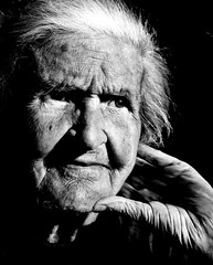 I'm just waiting, she says (AnnuskA  - AnnA Theodora) Tags: family portrait blackandwhite love eyes hands sad grandmother elderly emotions wrinkles whitehair feelinglonely
