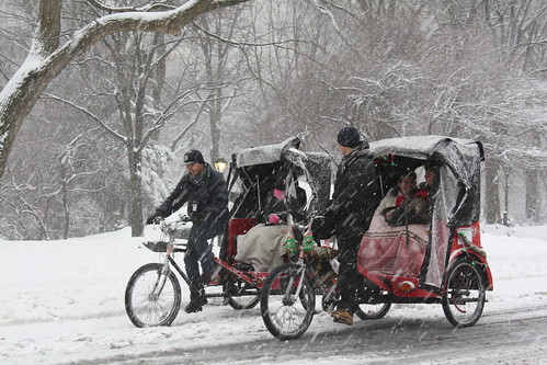Bicycle car under the snow