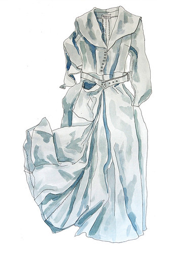 Research drawing of wedding dress