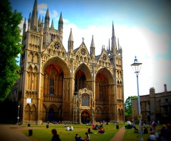 Peterborough Cathedral (1) (Tony Worrall Foto) Tags: uk england copyright church architecture buildings spires candid towers front norman east spire holy gb tall peterborough impressive frontage cambs 2011tonyworrall