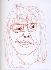 Maureen ~ non dominant hand (Gila Mosaics n'stuff) Tags: portrait art female glasses artist line marker sharpie lefthand pf continuous portraitparty jkpp jkpp2011
