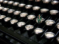 The Anxious Type (JD Hancock) Tags: favorite scale typewriter fun miniature interesting keyboard little small gray perspective content cc tiny figure ho 1k hoscale veryinteresting nogeo littledudes inkitchen galleried jdhancock
