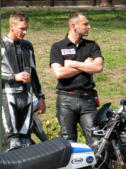 . (AFIK  BERLIN) Tags: man hot berlin guy biker ostern eastern wannsee motero spinnerbrcke spindlerbrcke ledertreffen leatherfetisch