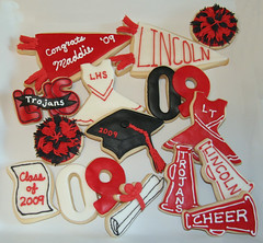 Graduation Cookies (Kiss My Buttercream) Tags: cookies caps stickers graduation cheerleading 2009 logos pompoms diplomas pennents