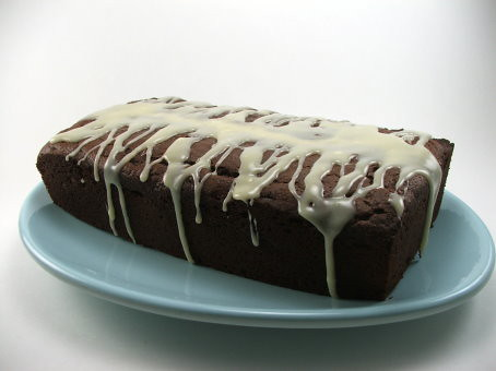 Chocolate Loaf Cake with White Chocolate Glaze