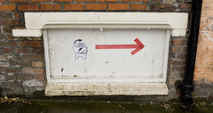 Robot, Wolstenholme Square (new folder) Tags: pasteup liverpool graffiti robot wolstenholmesquare arrow drainpipe tao rightarrow theartorganisation wolstenholmeprojects
