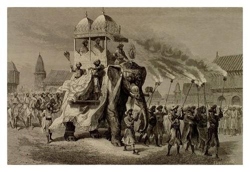 019- Desfile del ejercito del Rahja en Baroda-La India en palabras e imágenes 1880-1881- © Universitätsbibliothek Heidelberg