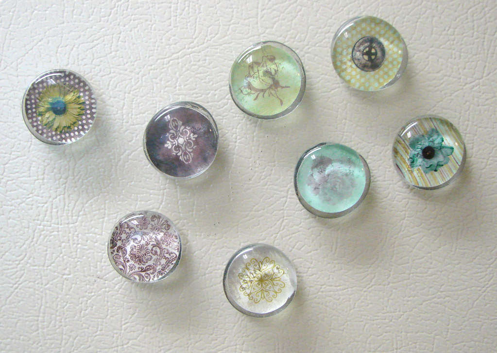Glass Gem Magnets (Green, Brown, Turquoise)