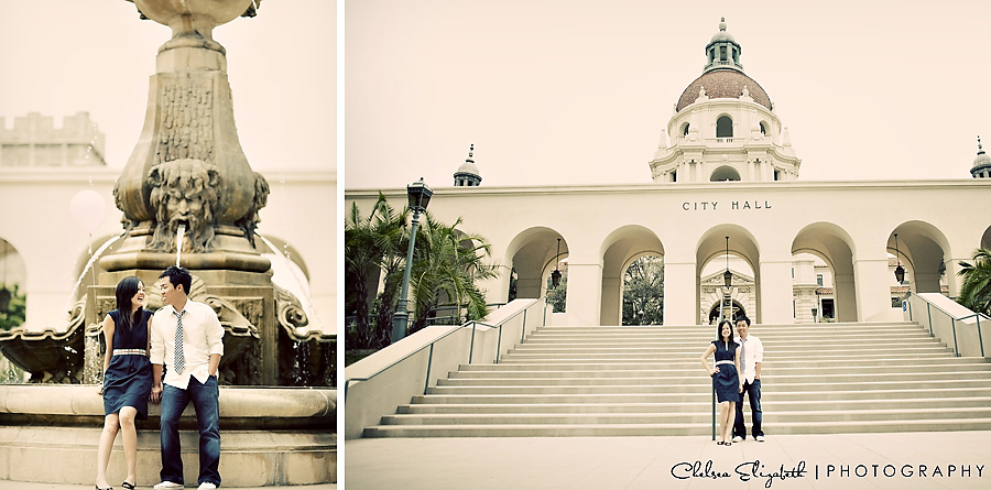 vintage pasadena city hall engagement session
