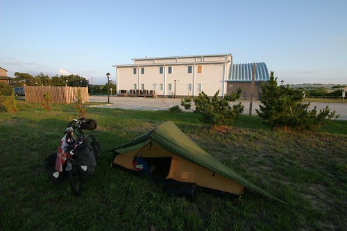 Morning camp behind the church in Nags Head, NC.