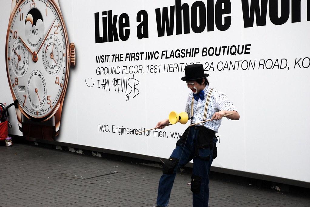 """I am Penis B"", clown performing at TST Star Ferry Terminal, Hong Kong"