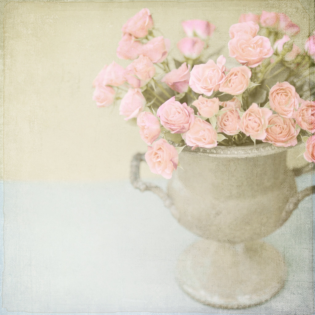 Pink Roses in Vintage Urn