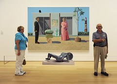 Hockney Gets Some Visitors, Including a Raven, 2009 (johnwalford) Tags: transformation tourists davidhockney raven henrymoore appropriation viewers artinstitutechicago artlovers selfportraitinmirror layeredcollage artgalleryandmuseums davidhockneyamericancollectorsfredandmarciaweisman1968 artinterpretingart henrymoorefallingwarrior195657 hockneyappropriation hnerymooresculpturefromhirshhornmuseumwashingtondc