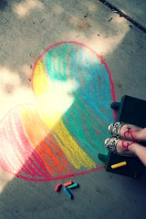 Bench Monday: Rainbow Heart Edition (alibubba) Tags: selfportrait bench chalk rainbow heart drawing sp monday sidewalkchalk roygbiv selfie hbm fgr 365days totw benchmonday minustheviolet