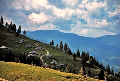 Velika planina (M4j4) Tags: road mountains green cottage hills hut slovenia pines pasture slope trava meadowmmead