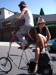 Tall Bike Two-step (gregraisman) Tags: bike walking portland bikes neighborhood funbikes sundayparkways