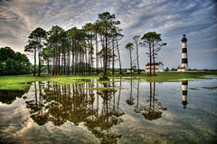 Bodie Island deluge (Jamie Betts Photo) Tags: lighthouse reflections outerbanks hdr bodieisland photomatix tonemapped