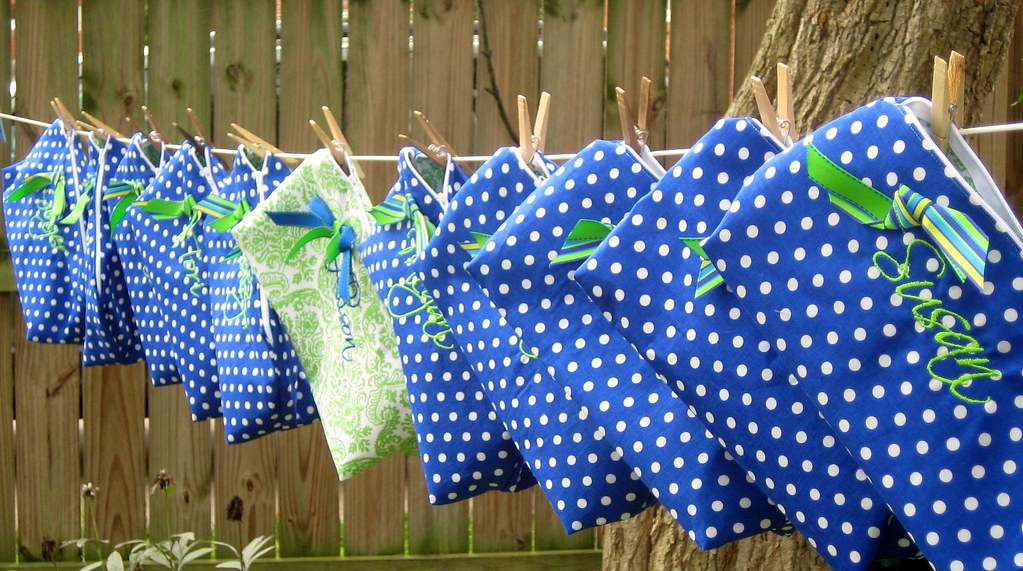 blue white polka dot bags
