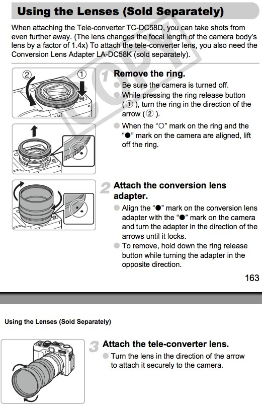 Attaching Tele-converter TC-DC58D and Conversion Lens Adapter LA-DC58K, as documented on pages 163 and 164 of the Canon G11 manual