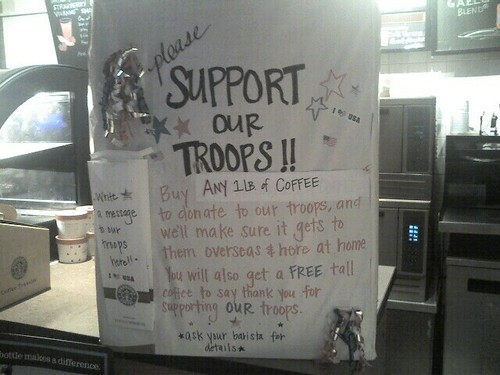 does starbucks support our troops