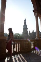 Spain Square at Seville (espaciovictor) Tags: plaza light shadow españa sun luz sol contraluz square sevilla spain sombra seville elena reflejo column plazadeespaña columna balaustrada espaa plazadeespaa